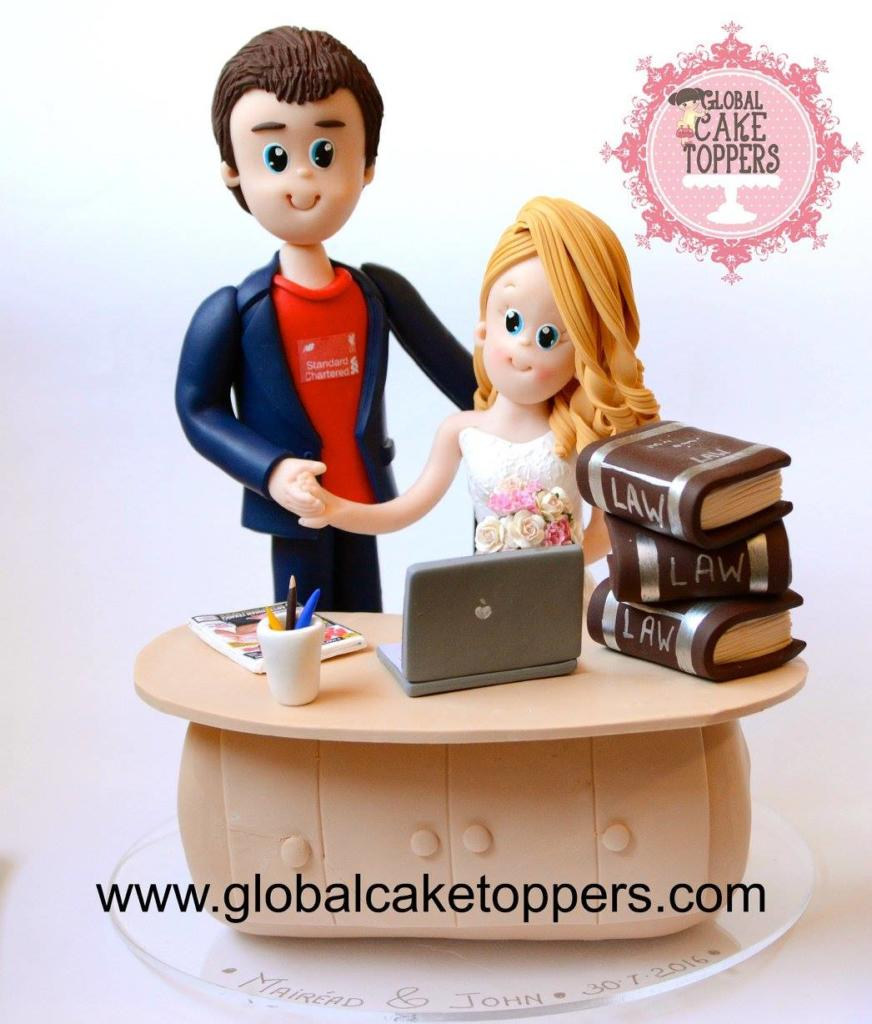 Solicitor Bride and Groom Cake Topper for Wedding Cake