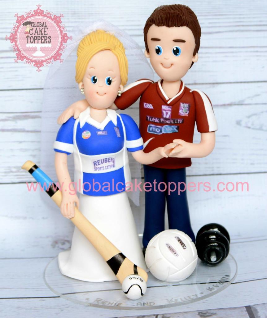Sports loving Wedding couple cake toppers