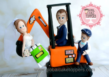 Groom carrying Bride in a digger Cake Topper