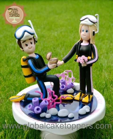 scuba diver wedding cake topper