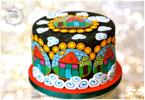 Pattern Cake using Modern Art Sugarcraft