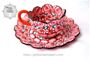 Sugarpaste red teacup and saucer
