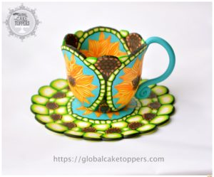 Pattern Teacup and Saucer using sugarcraft in Dublin