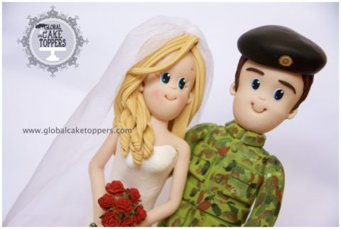 Soldier Groom with his Bride Cake Topper