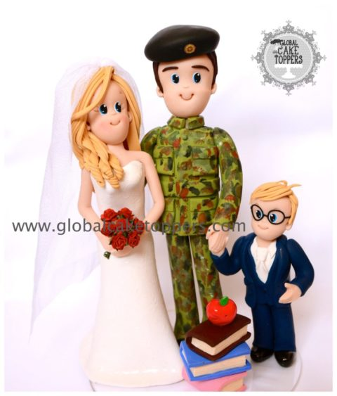 Soldier with his family in wedding cake topper