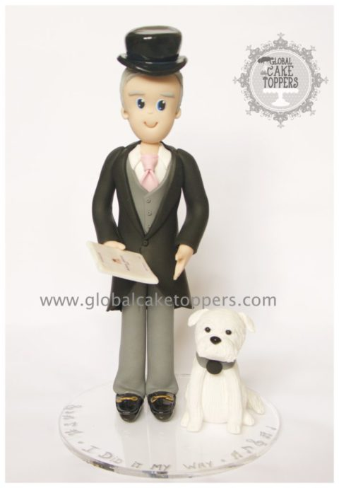Magician with his dog cake topper