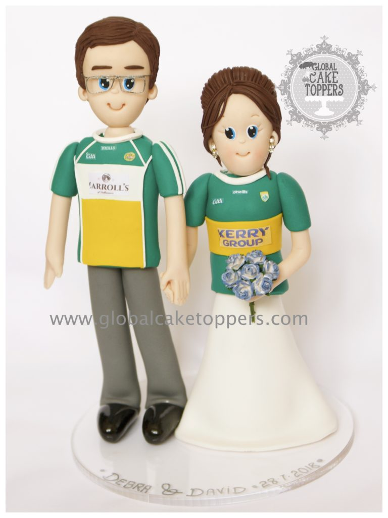 Bride & Groom in their favourite football jersey cake topper