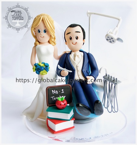 Dentist Bride with Groom Teacher Wedding Cake Topper