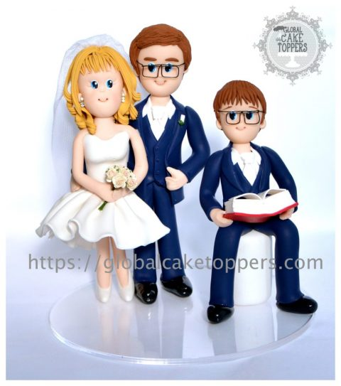 Beautiful family with their son cake topper