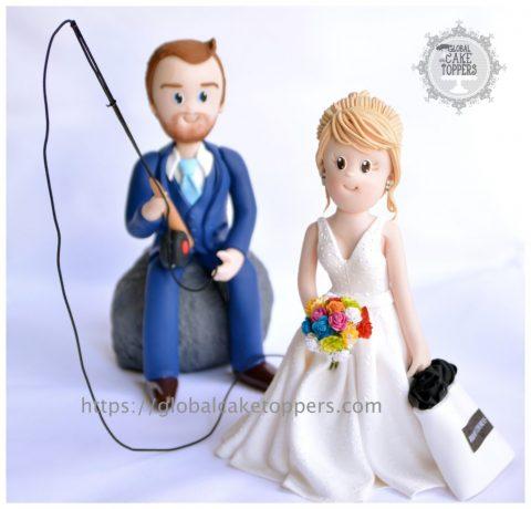 Groom fishing Bride Cake Topper