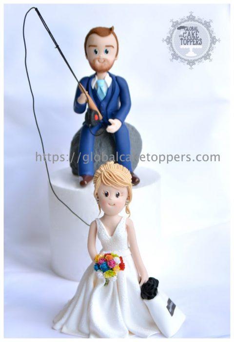 Groom fishing Bride Wedding Cake Topper