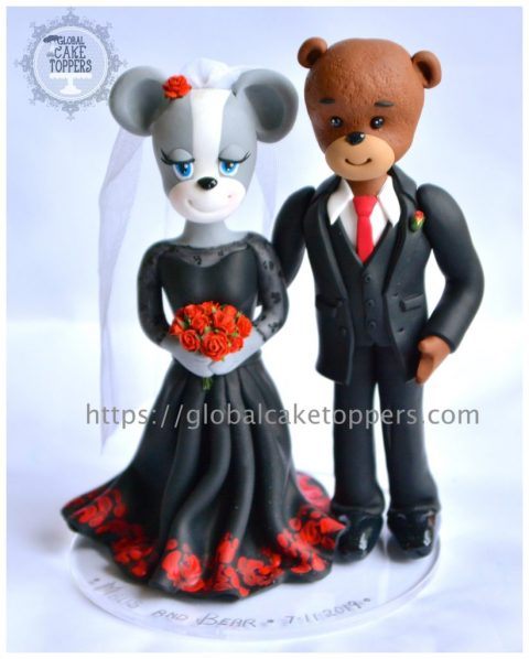 Mouse Bear Couple Cake Topper
