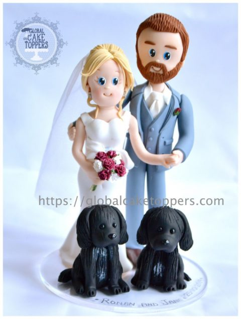 Bride and Groom with twin pet dogs cake topper