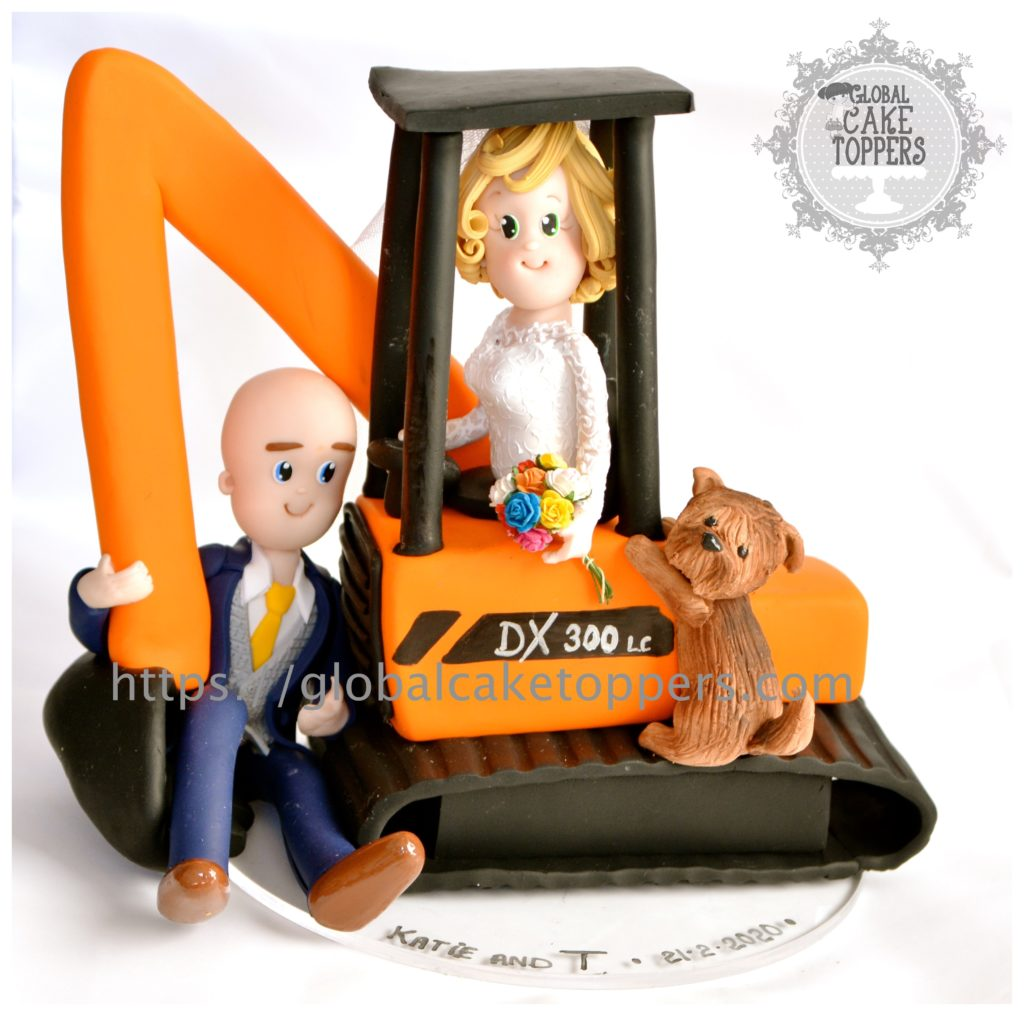 Bride and Groom in Digger Cake Topper