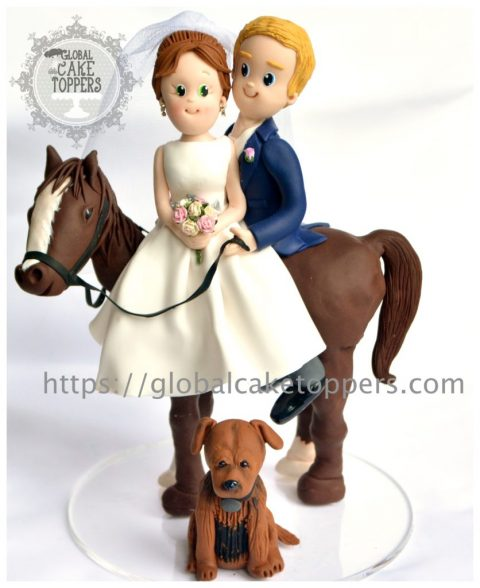 Bride and Groom with Pet dog on horse cake topper