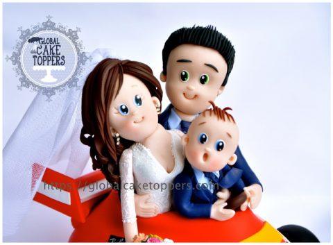 Lovely Family in Ferrari Car Cake Topper