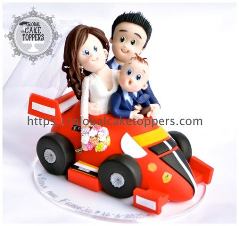 Family in Ferrari cake topper