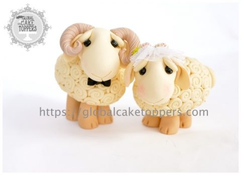 Sheep Couple Cake Topper