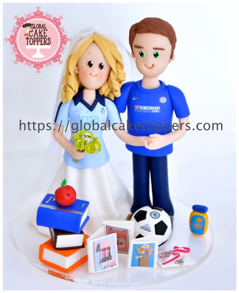 Sports loving Wedding Cake Toppers