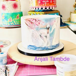Swan Couple Painting on Cake